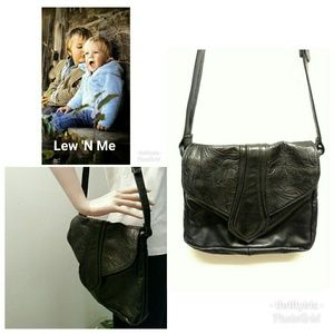 Lew 'N' Me-Butter Black Leather Shoulder Bag-👜